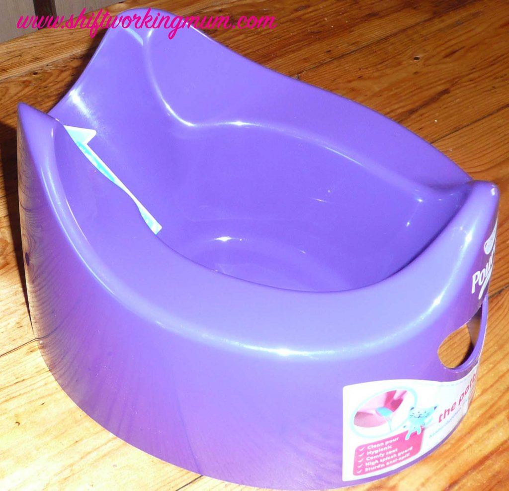 Pourty potty in purple, side view