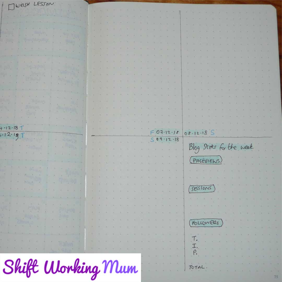 Example of a weekly page