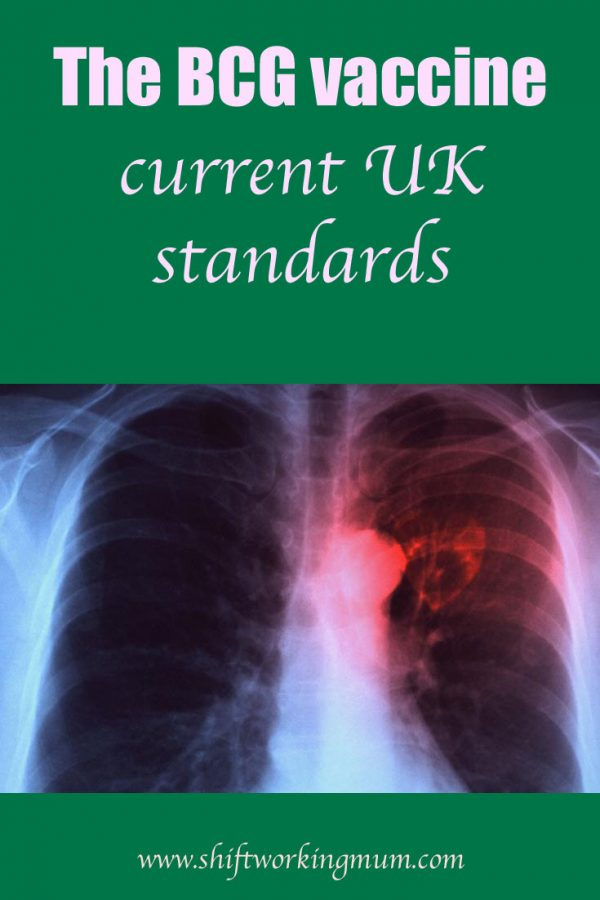 The BCG vaccine and current UK standards, includes picture of a chest X-ray with TB nodule coloured red