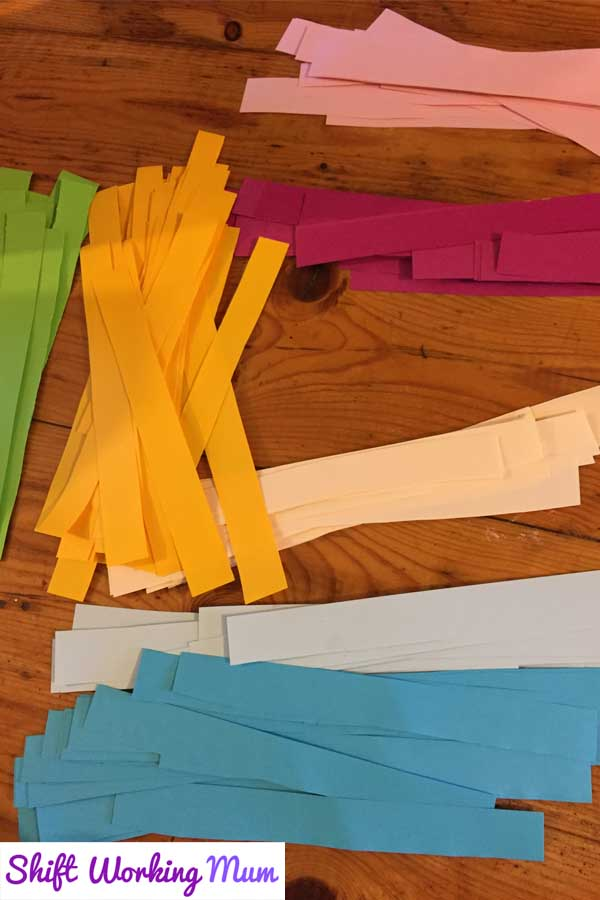 strips of coloured paper