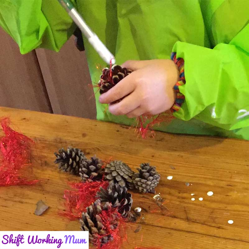 paint the pine cones