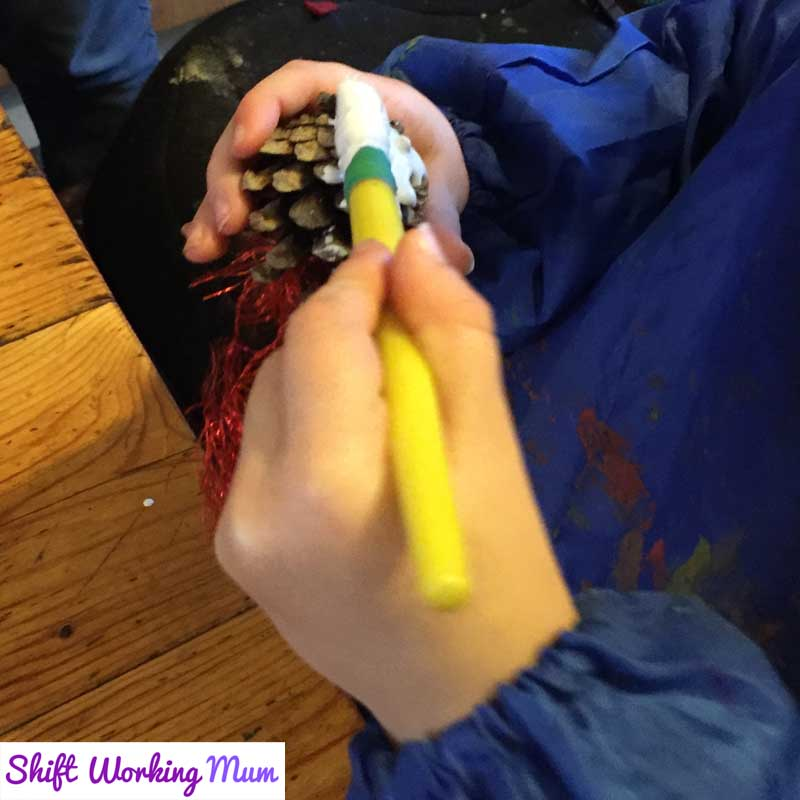 paint the pine cones with the PVA/paint mix